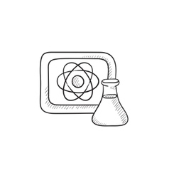 Atom sign drawn on board and flask sketch icon vector image vector image