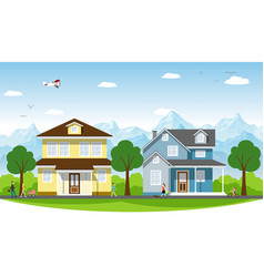 beautiful country houses vector image vector image