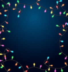 Blue background with realistic garland vector image vector image