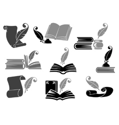 Books with feather icon set vector image vector image