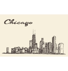 Chicago skyline city architecture drawn vector image vector image