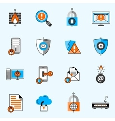 Data Security Line Icons Set vector image