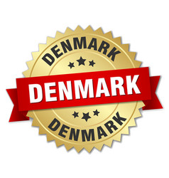 Denmark round golden badge with red ribbon vector