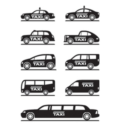 Different types of taxi cars vector image vector image