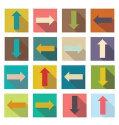 Flat icons of arrows for web design vector image