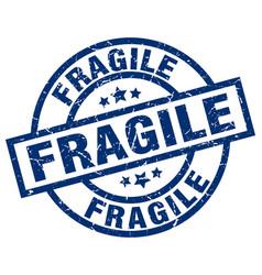 Fragile blue round grunge stamp vector