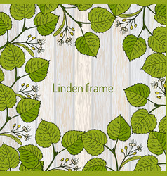 Frame with linden branches template vector