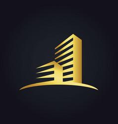 Gold cityscape modern building logo vector