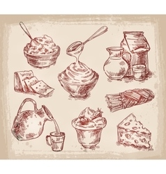 Hand drawn sketch set of dairy products vector