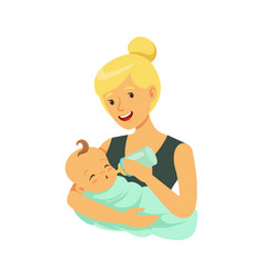 Happy blonde mother holding her bonded baby and vector