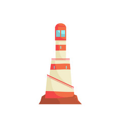 Lighthouse tower with a beam of searchlight for vector