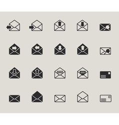 Mail envelope web icons set vector image