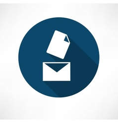 Mail with the document icon vector image