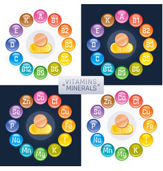 Mineral vitamin supplement icons a b c d e vector
