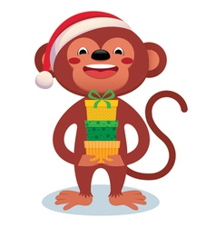 Monkey with gifts new year vector
