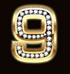 Number nine bling gold and diamonds vector image vector image