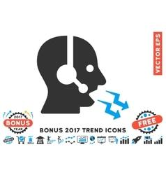 Operator shout flat icon with 2017 bonus trend vector