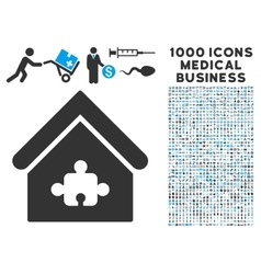 Puzzle Building Icon with 1000 Medical Business vector image