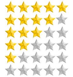 rating golden stars set vector image vector image
