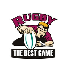 rugby player grounding ball for try vector image