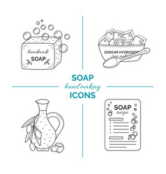 Set of thin line icons of handmade soap vector