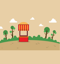 Street stall on the hill landscape vector