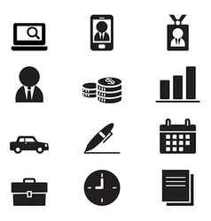 Silhouette Businessman and office tools icon set vector image
