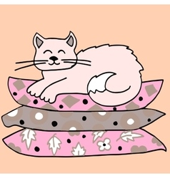 High quality of cat on pillows vector