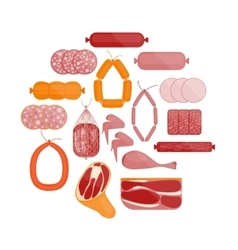 Meat and Sausage Set Round vector image