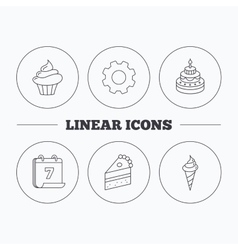 Cake cupcake and ice cream icons vector