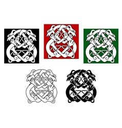 Celtic dogs and wolves vector
