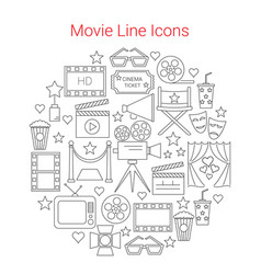 movie line icons set circular shaped vector image