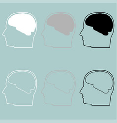 Head with brain white grey black icon vector