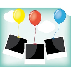 photo frame with colorful balloons vector image