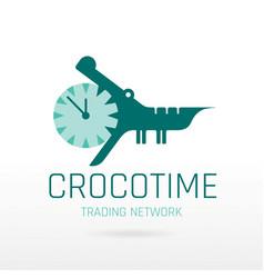 Crocodile alligator animal icon text lettering vector