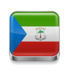 Metal icon of equatorial guinea vector