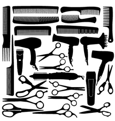 Barber hairdressing salon equipment vector