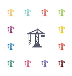 Construction crane flat icons set vector