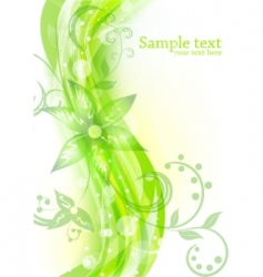 floral background in green color vector image