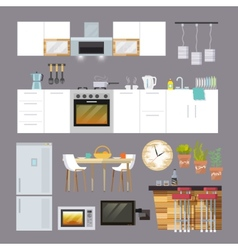 Kitchen furniture flat vector
