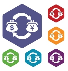Dollar-yen exchange hexagon icon set vector