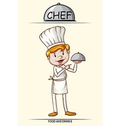 Male chef and tray of food vector