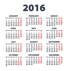 Calendar for 2016 on white background week starts vector