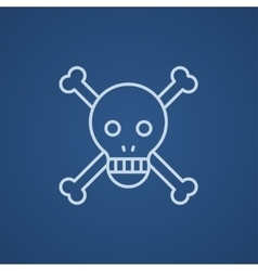 Skull and cross bones line icon vector