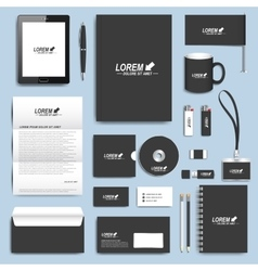 Black set of corporate identity templates vector