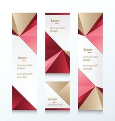 Triangle vertical banner brown pink red vector