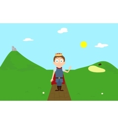 Cartoon prince character greeting on green hill vector