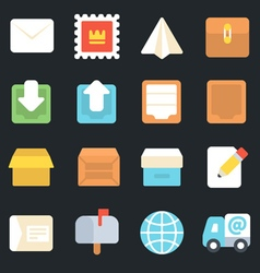 Post and logistic service flat icons vector
