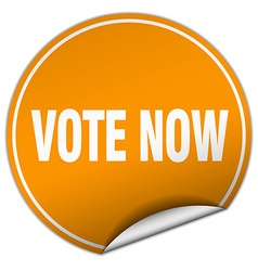 Vote now round orange sticker isolated on white vector