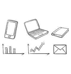 A doodle set of the different gadgets vector image vector image